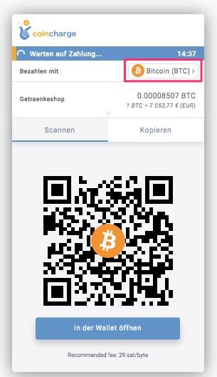 Bitcoin Zahlung im Spenden Shop