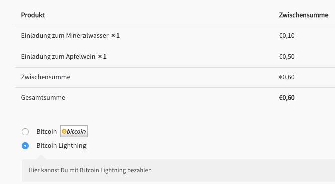 Auswahl zwischen Bitcoin oder Lightning Zahlung